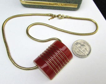 vintage 70s crown trifari modernist vintage carnelian orange lucite necklace pendant snake chain mid century modern signed designer jewelry