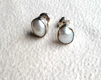 925 Sterling Silver & Cultured White Fresh Water Pearl Earrings Handcrafted Jewelry Stud Earrings Sterling Silver Jewelry Handmade Earrings