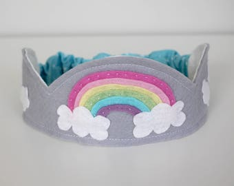 Rainbow Felt Crown, Wool Birthday Crown, Waldorf Birthday Crown, Waldorf Toy, Dress-up, Costume