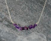 Purple Amethyst Chip Beaded Bar Necklace  Purple Amethyst Necklace  February Birthstone  Layering Necklace   FREE SHIPPING  F3