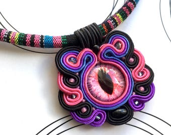 Dragon Eye Necklace, Massai Necklace, Ethnic Necklace, African Jewelry, Tribal Necklace, Colorful Necklace, Rope Necklace