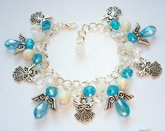 Turquoise Angel Bracelet, Angel Charm Bracelet, Silver Angel Bracelet, Guardian Angel Bracelet, Angel Charms, Glass Angel, Protection