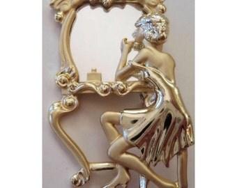 Rare Hollywood Regency Gold Tone Pin Brooch Woman At Vanity Mirror Movie Star