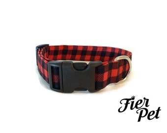 Designer dog collar,buffalo plaid, collar,adjustable collar,fier-pet