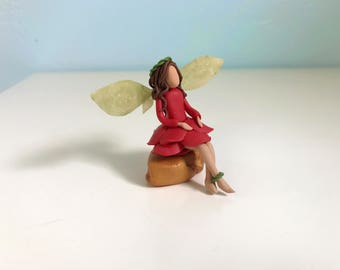 Miniature Fairy Figurine - Faerie Sculpture - Fairy Garden Rose