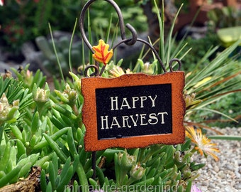 Harvest Sign with Hook for Miniature Garden, Fairy Garden