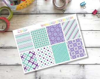 Purple ~ Teal ~ Geometric ~ Floral Full Box Stickers for Erin Condren Life Planner