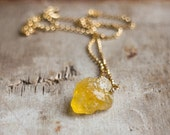 Raw Heliodor Necklace in Silver or Gold, Golden Beryl Necklace, Yellow Aquamarine Jewelry, Rough Stone Necklace, Heliodor Jewellery, Crystal