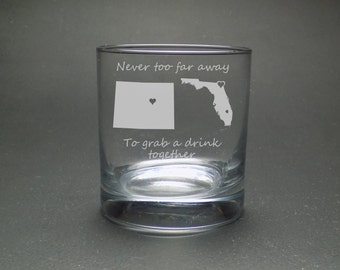 Best Friend Whisky Glass - Never Too Far Rocks Glass - Long Distance Best Friend Glass - Moving Glass Gift - Housewarming Gift