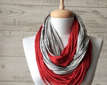 Jersey Scarf Tshirt Scarf Grey Scarf Necklace Scarf Women Scarf Infinity Scarf Noddle Scarf Red Scarf Cotton Scarf Loop Scarf Summer Scarf