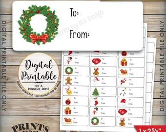 """Christmas Labels, Christmas Gift Labels, Christmas Present Labels, Xmas Tags Xmas Package Labels, Instant Download Printable 1x2-5/8"""" Labels"""