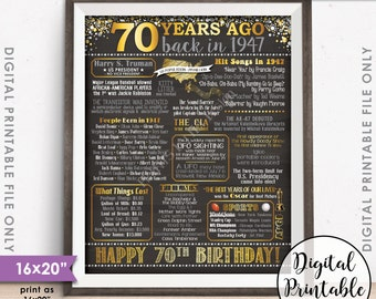 "70th Birthday Gift 1947 Poster 70 Years USA Flashback Born in 1947 Birth 70th B-day, Chalkboard Style PRINTABLE 8x10/16x20"" Instant Download"