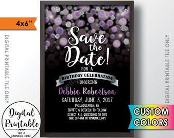 "Save the Date for a Birthday Party, Black and Custom Color Glitter Invite, Birthday Celebration Save the Date, 4x6"" Digital PRINTABLE File"