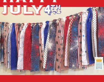 Fourth of July garland banner, July 4th decor, Patriotic decorations, Memorial Day decorations, Patriotic fabric garland, 4th of july decor,