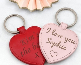 Personalised Leather Heart Keyring (HBL02)