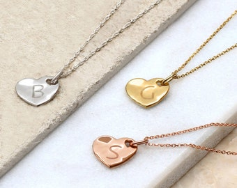 Precious Metal Personalised Hammered Heart Necklace