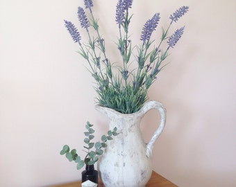 Three faux lavender stems - artificial flowers