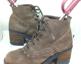 90s Grunge Women's Boots 6.5 37 brown leather