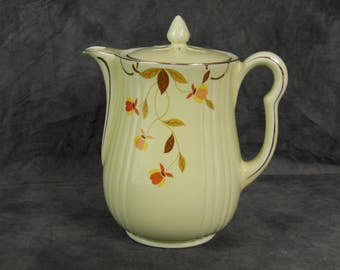 Halls China Coffee Pot With Lid, Autumn Leaf Pattern, Approved by Jewel, Vintage