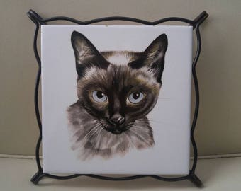 Mid Century Siamese cat trivet / spanish tile / kitschy kitchen / cat lover / kitty / blue eyes