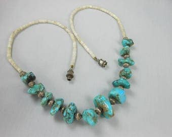 ESTATE Vintage Navajo Shell Heishi Turquoise Nugget Necklace 17""