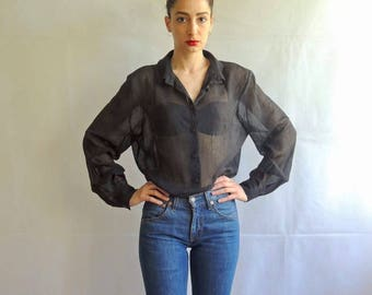 Vintage Black Semi-Sheer Button Up Blouse