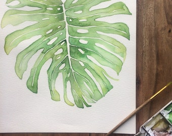 Original Tropical Leaf Watercolor Painting, Monstera Leaf, Philodendron Leaf