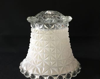 Vintage Glass Lamp Shade, Frosted Lamp Shade, Crystal Lamp Shade, Diamond Cut Lamp Shade, Hobnail Lamp Shade, Heavy Glass Lamp Shade