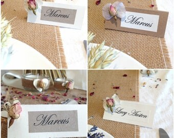 Blank PINK ROSE Place Name Cards, Dried Flower Decorations, handwritten wedding stationery, Rustic, Vintage, Country Wedding, Calligraphy,