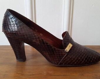 Vintage Designer Snakeskin Court Shoes U.K. Size 4 1/2 Jacques Esterel Paris 60's Chic Pumps Classic Mid Century Ladies Shoes Made in France
