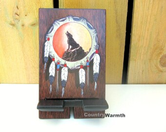 iPhone Stand, Smartphone Stand, Cell Phone Stand, Docking Station, Charging Stand, Wolf Art, Western Decor, Birthday Gifts