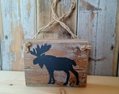 Wall Art Nordic Moose Sign Handpainted from Reclaimed Wood - Scandi Art - Spring Decor - Nordic Decor