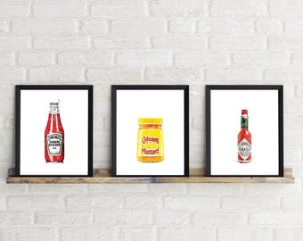 Set of 3 Kitchen art, Kitchen prints, food, Ketchup, Mustard, Hot sauce, Tabasco, house warming, new apartment, wall art, wall deco, Kitchen