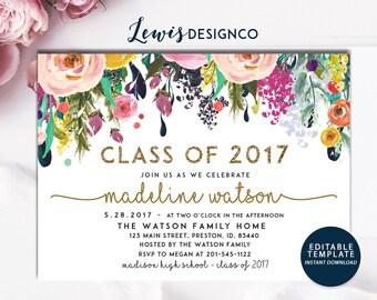 Graduation Party Invitation, High School Graduation Invite, Open House Invitation, Class of 2017,  Floral Gold Glitter Invitation Card