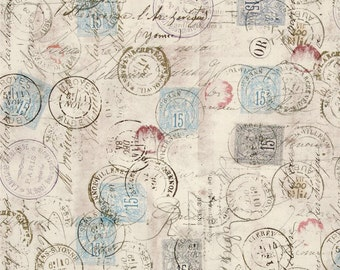 Tim Holtz - Eclectic Elements Correspondence - Taupe Correspondence PWTH021-TAUP / Blue, Red, Beige, Postage Stamp Vintage Fabric