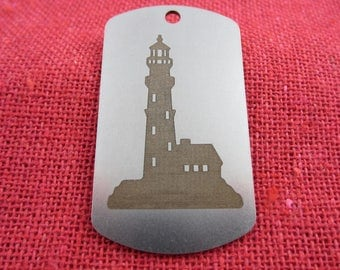 Key Ring, Lighthouse Stainless Steel Engraved Key Ring