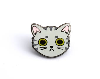 Gray Tabby Cat Face enamel pin (cute cat pin hard enamel lapel pin badge kitten pin gray tabby pin cat lady personalized cat lover gift)