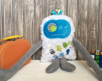 Hug Monster, handmade plush toy,  turquoise and grey with monsters print,friendly monster for child,unique  birthday gift, ready to go