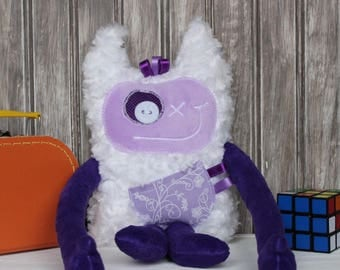 Hug Monster, handmade plush toy, lilac and purple with flowers print,friendly monster for girl,unique  birthday/baby shower gift,ready to go