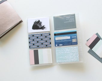 Travelers Notebook Wallet Cardholder Insert. Midori wallet insert / 30 sleeves, holds up to 60 cards,Midori Travelers Notebook wallet insert
