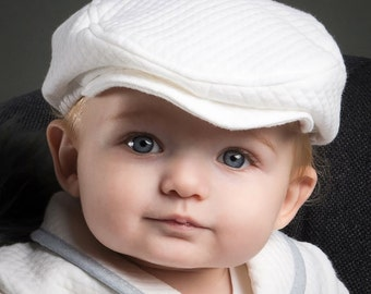 White Quilted Newsboy Cap