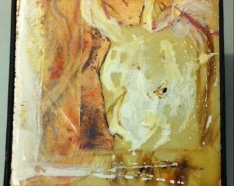 Original Encaustic Rhino Small Painting. Sumatran Rhinoceros portrait in Sepia tones   Endangered species  Animal Wall art