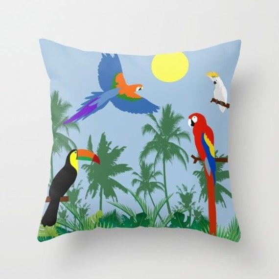Parrots pillow cover-Toucan-Tropical-Floor pillow-Green cushion-Blue Wild Birds-16x16-18x18-20x20-Mid century modern-Colourful-Cool pillow