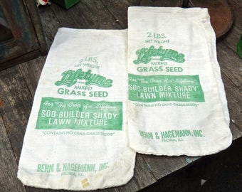 Grass Seed Bags, Cloth Advertising, Lifetime Grass, Seed Bag, Yard, Garden, Farmhouse, Gardener Gift, Peoria IL, Industrial Man, Dude Find
