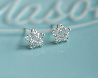 100% Sterling Silver Wire Wrapped Star Silver Earrings, Sterling Silver Earrings, Silver Star Earrings, 925 Silver Jewelry