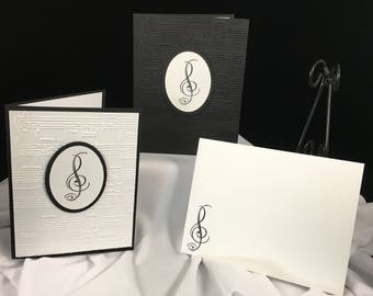 Music Note Cards - 10 Treble Clef White or Black Background, or Combination Set of 5 each