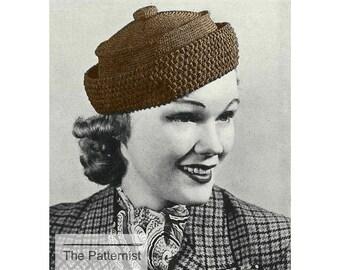 Vintage Crochet Pattern 1930s Women's Button-Topped Hat Chapeau PDF Instant Download SKU 5-5