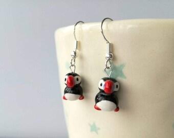Puffin earrings, miniature puffins, tiny puffins, mini ceramic puffin gift