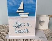 """Clay Boat on Card """"Life's a beach"""""""