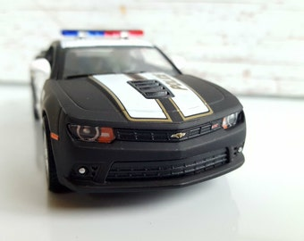 CHEVROLET CAMARO SS Police, Black Matt Metal Toy Car Model. Lovely  Collectible Item!
